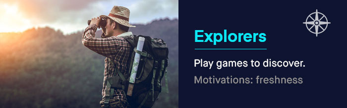 The Explorers: They play games to discover new environments, new challenges, and new opportunities. | UserWise