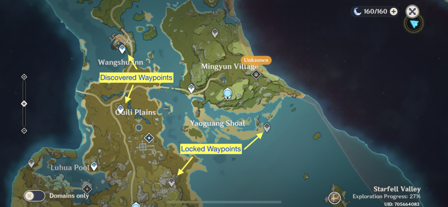 A gameplay screenshot of GI's Waypoint system, which pales in comparison to BoTW's Shrine system.
