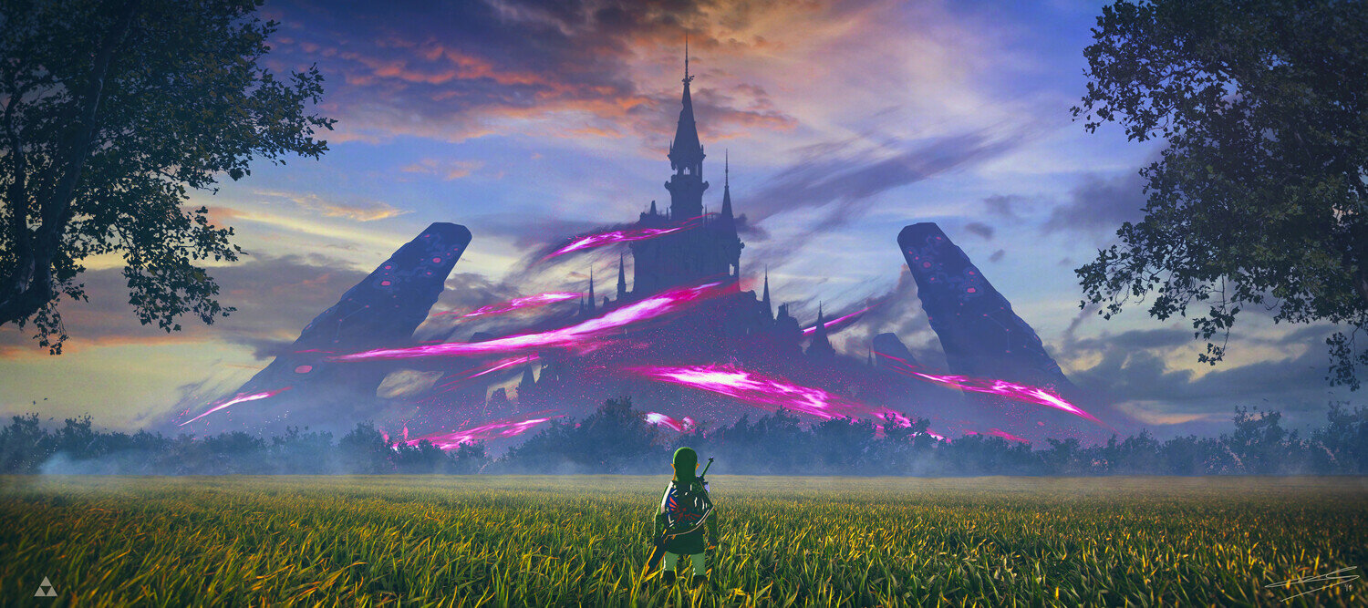 This is an illustration of BoTW's Hyrule castle being perpetually engulfed by Ganon's Curse, and it perfectly captures how to integrate the narrative into the open world.